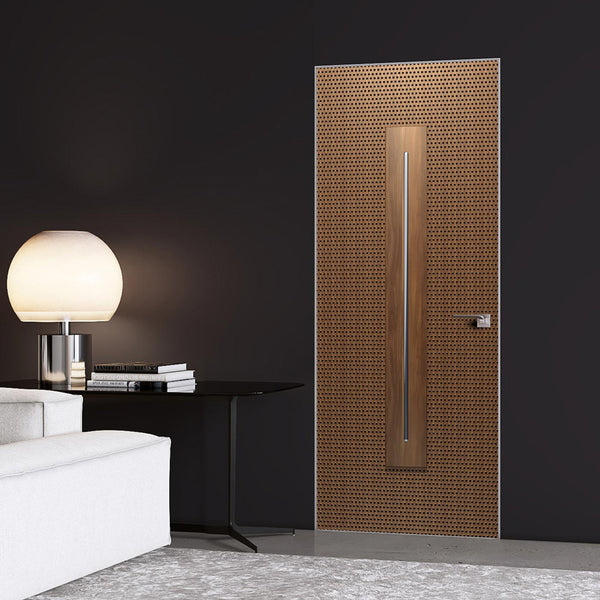 Modern Walnut Door Wallpaper with dot Pattern - DoorTouch