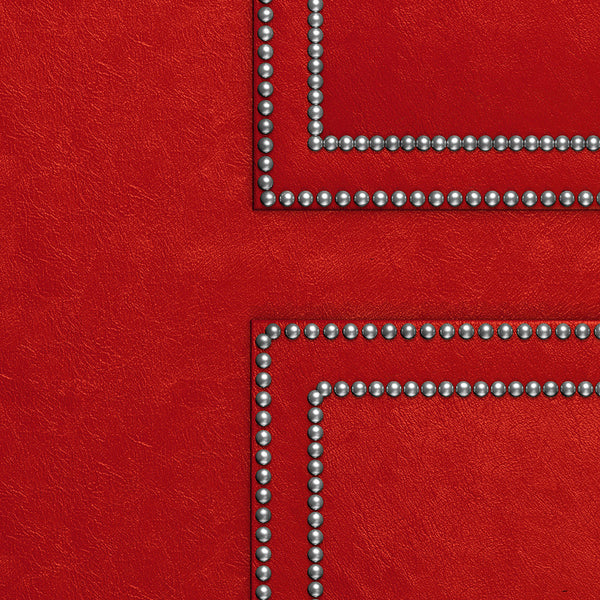 Upholstered Red Leather Door Wallpaper - DoorTouch