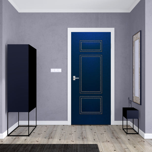 Blue Upholstered Leather Door Mural Wallpaper - DoorTouch