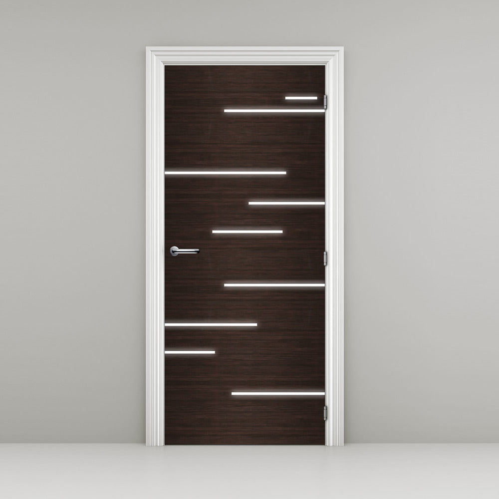 Hacienda Black Door Wallpaper with light streaks - DoorTouch