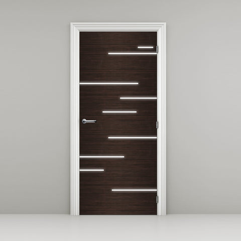 Hacienda Black Door Mural with light streaks - dark Brown wood