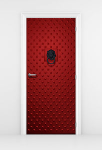 Spiked Red Metal Door - Iron Door with Lion Knocker | DoorTouch