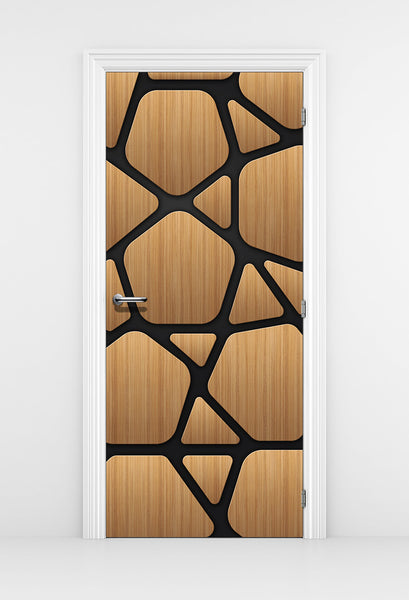 Futuristic Wood Door Mural design - DoorTouch