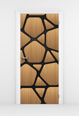 Futuristic Wood Door Mural - Organic Form Panel Door | DoorTouch