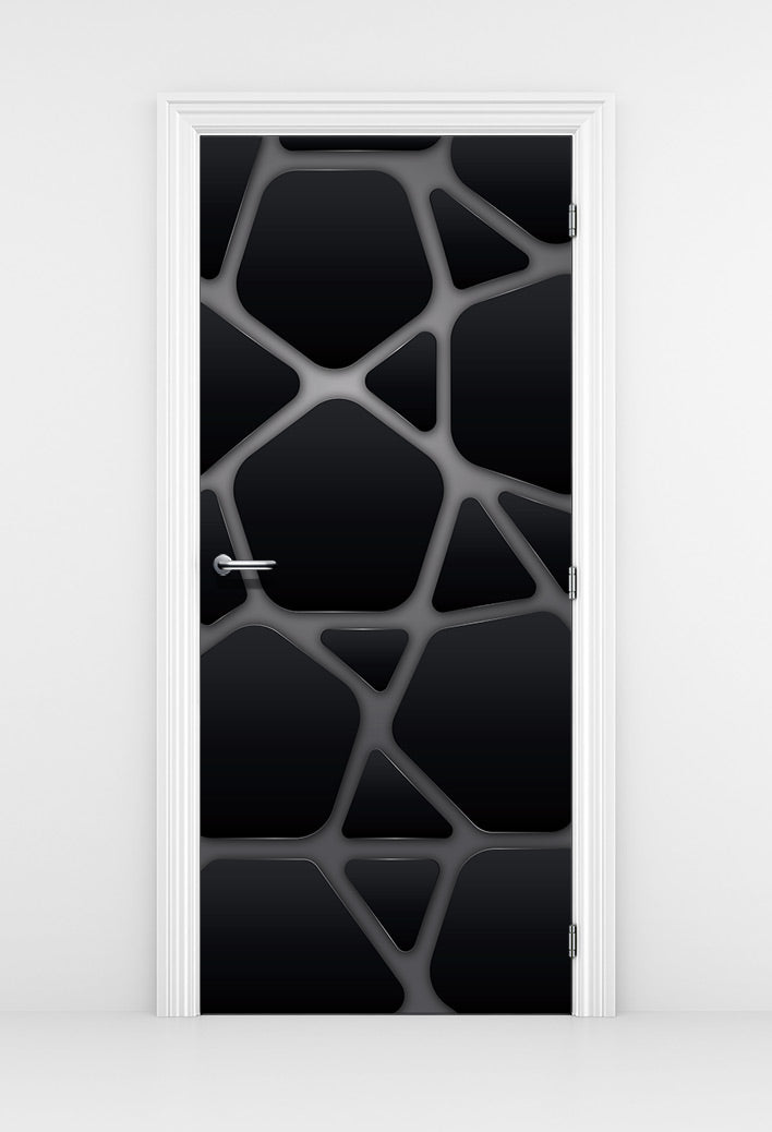 Futuristic Black Metal Door Mural - DoorTouch
