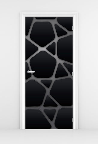 Futuristic Black Metal Door Mural - Organic form Panels | DoorTouch