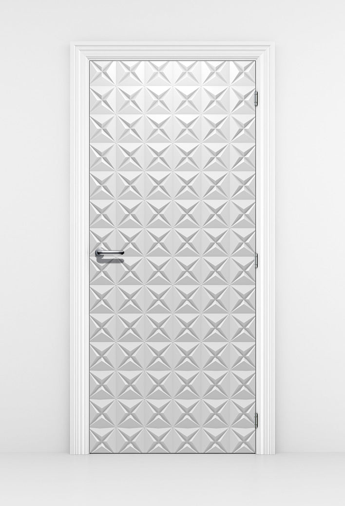 White 3D Geometric Pattern Door Mural - Elegant pattern | DoorTouch