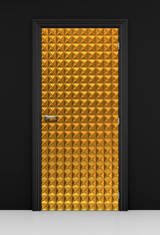 Gold 3D Geometric Pattern Door Mural