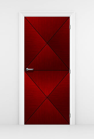 Red Wood Door Mural Diamond Panels - X Cut Door design | DoorTouch