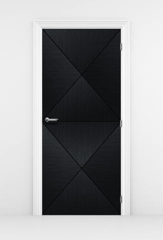Black Wood Door Diamond Panels - Door Mural | DoorTouch