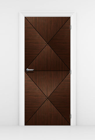 Dark Brown Wood Door Diamond Panels - Door Mural | DoorTouch