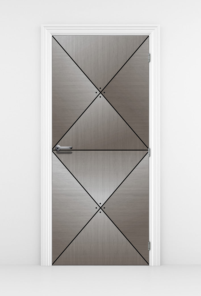 Grey Wood Door Diamond Panels - Office Door Mural | DoorTouch