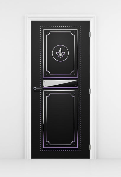 Black Fashion Studio Door Mural - black leather with Silver Trim | DoorTouch