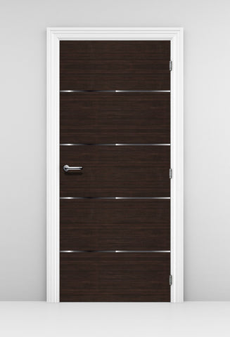 Corporate Office Door Mural - Dark wood with Silver Trims | DoorTouch