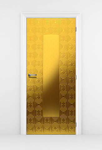 Luxurious Gold Door Mural - Geometric Gold Pattern | DoorTouch