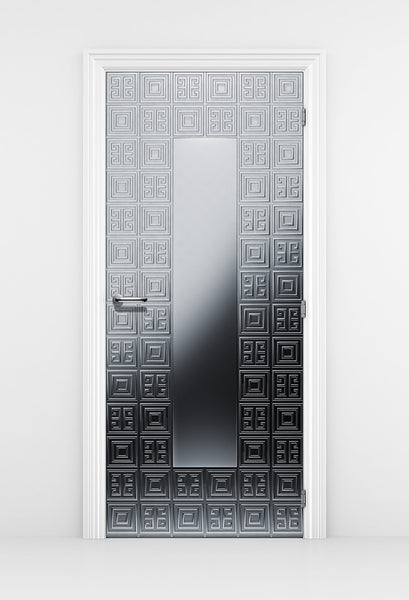 Luxurious Silver Door Mural - Geometric Silver Pattern | DoorTouch