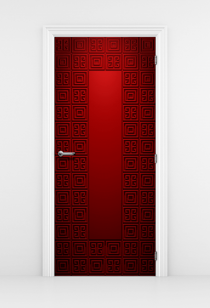 Geometric Pattern Red Door Mural - Lounge Door Sticker | DoorTouch