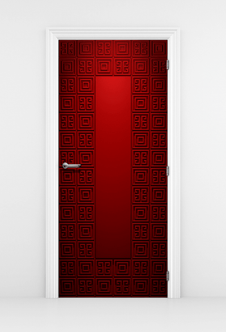 Geometric Pattern Red Door Mural - DoorTouch