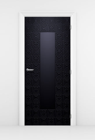 Geometric Blue Pattern Door - Door Mural | DoorTouch