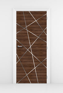 Walnut Door Mural, birds Nest Lines - Door Wallpaper | DoorTouch
