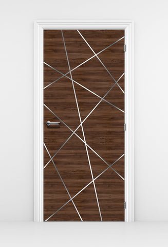 Walnut Door Mural, birds Nest Lines - DoorTouch