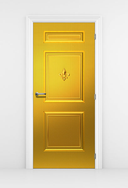 Gold Door Mural Fleur de lis - Door Wallpaper | DoorTouch
