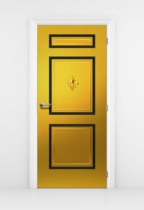 Chic Gold Door Wallpaper Fleur de lis - DoorTouch