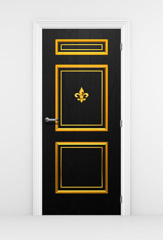 Chic Black Door Wallpaper Gold Trim - Gold Fleur de lis | DoorTouch