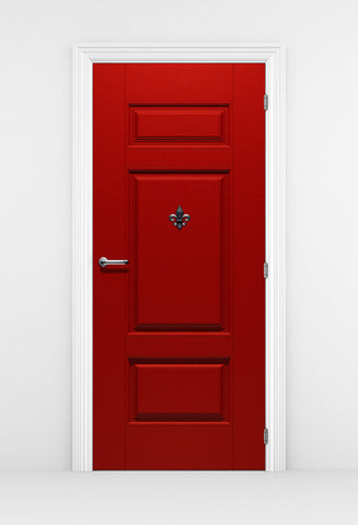 Red Door Wallpaper - Silver Fleur de lis | DoorTouch