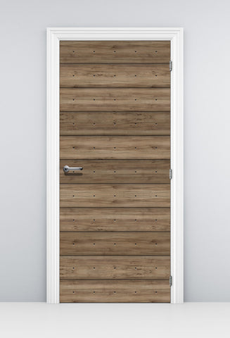 Walnut Plank Wood Door Wallpaper - Door decal - Door Sticker
