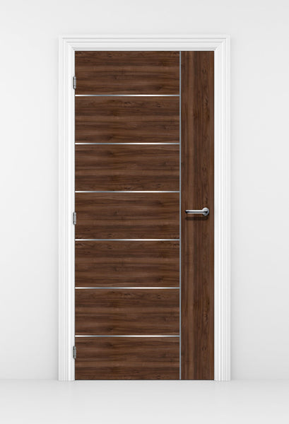 Walnut Door With Silver Lines Mural Wallpaper | Door Wallpaper