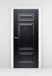 Corporate Door Signage Wallpaper - Black Door with Silver Trims - Door Mural