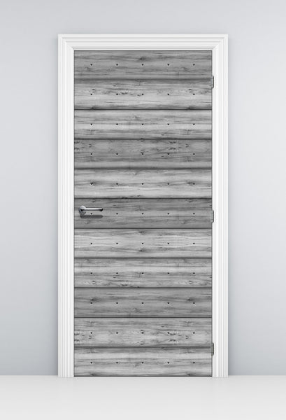 Grey Plank Wood Door Wallpaper - Bathroom Door Mural