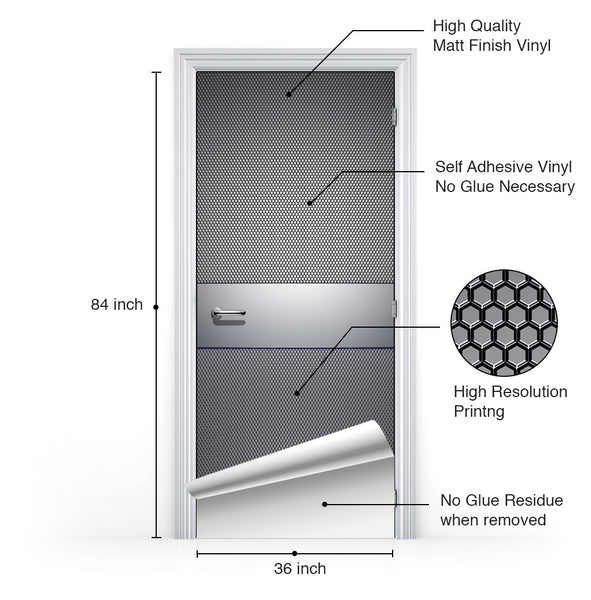 Silver Metal Tech Room Door Mural - DoorTouch