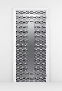 Silver dot Pattern Techroom Door wallpaper - Metal Door | Doortouch