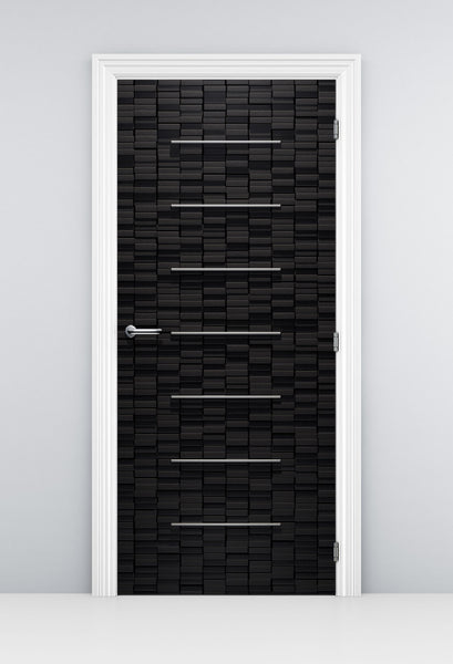 Ultra Modern Black Wood door Wallpaper - DoorTouch