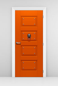 Orange Walk In Closet Door Wallpaper - Door knocker with spikes door Mural