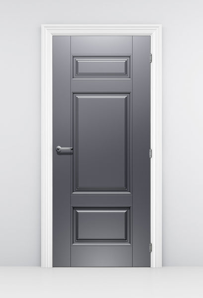 Classical Style Silver Door Wallpaper - Grey metallic door mural | Doortouch