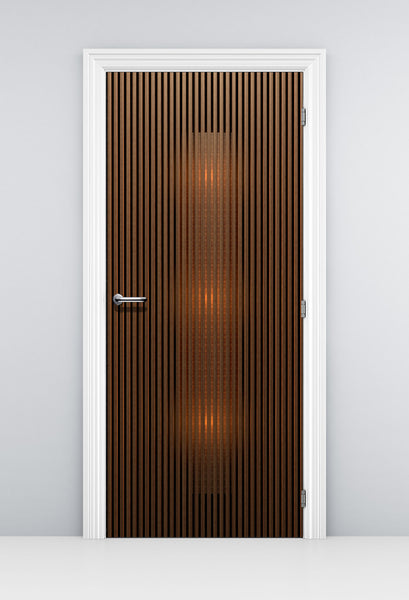 Modern Dark Walnut Door Mural - Zen Door Wallpaper | Doortouch