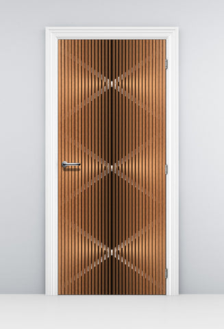 Modern See through Door Wallpaper - Metal and Wood wallpaper | Doortouch
