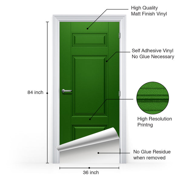 Self Adhesive Green Door Mural information