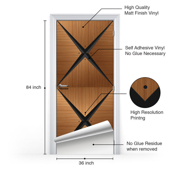 Retro Modern Wood Door Mural - detail sheet