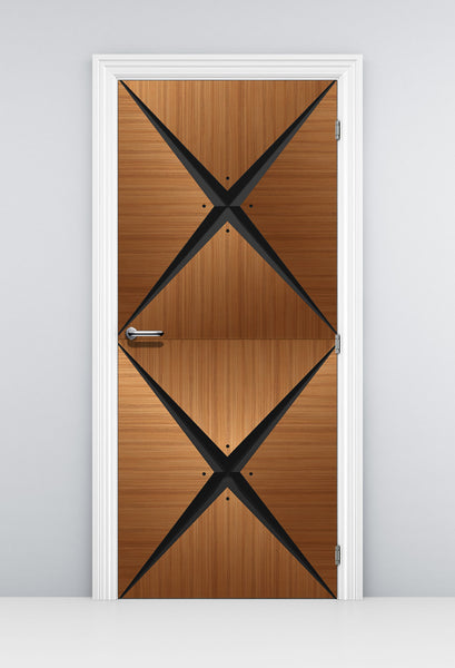 Retro Modern Wood Door Mural - DoorTouch