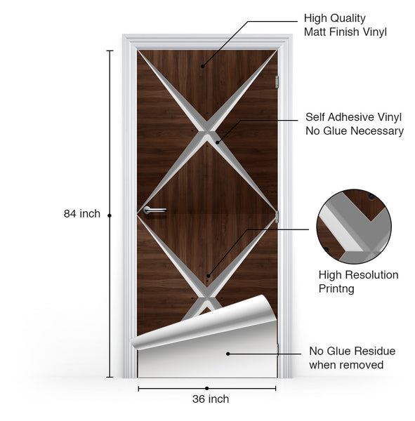 Retro Modern Dark Wood Door Mural - Vinyl Door Wallpaper