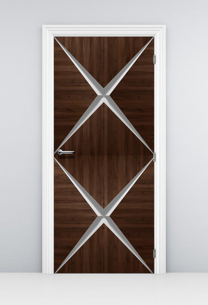 Modern Dark Wood Door Mural Wallpaper - Vinyl Door Mural