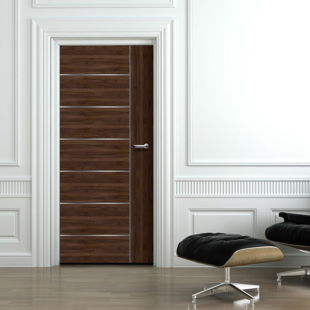 Walnut Door With Silver Lines Mural Wallpaper