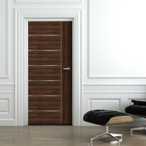 Walnut Door With Silver Lines Mural Wallpaper - DoorTouch