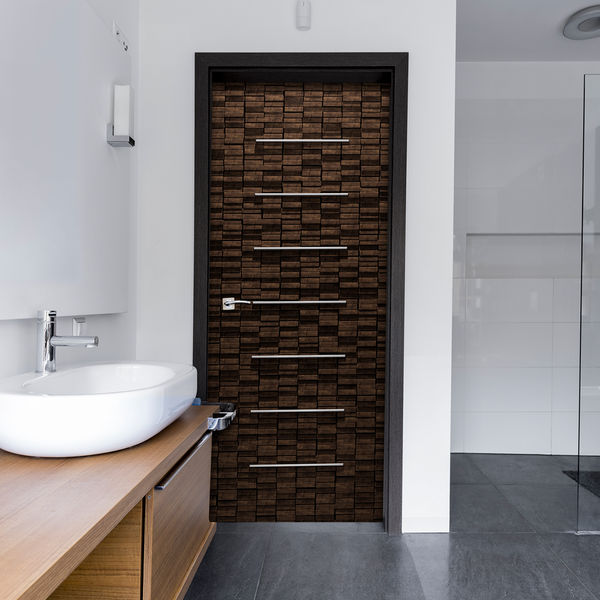Ultra Modern Wood door Wallpaper - Bathroom door wallpaper