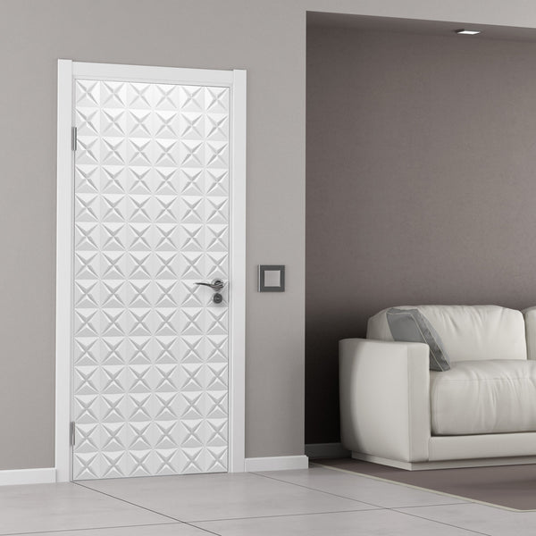 White 3D Geometric Pattern door