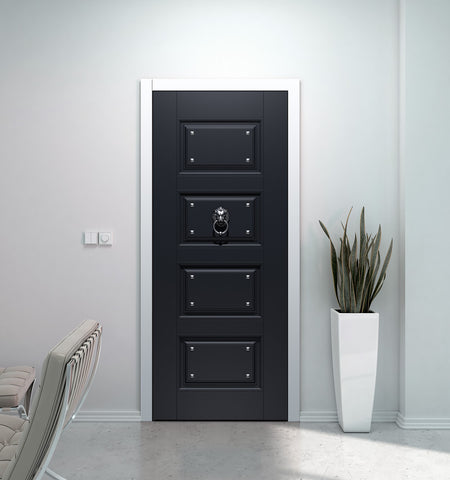 Black Door Wallpaper with Lion knocker - Fashion Door -Closet Door